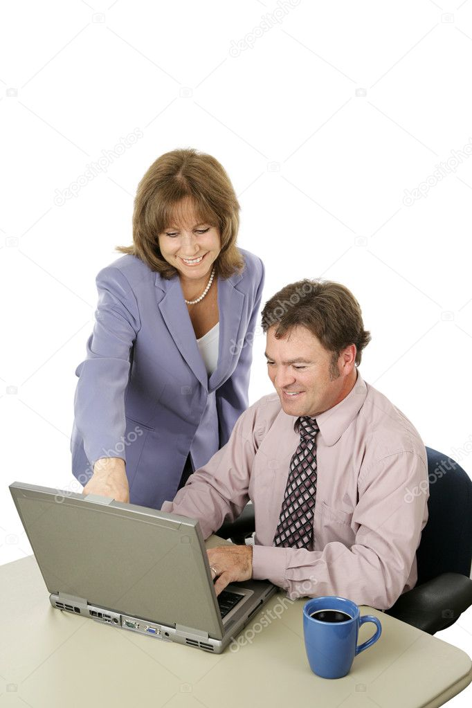A business team working on the computer.  The female is in charge.  Isolated on white. — Stock Photo #6805109