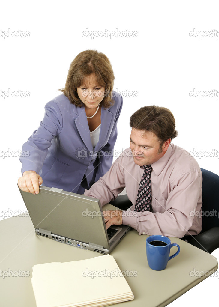 A male-female business team working intensely trying to meet a deadline.  Isolated on white. — Stok fotoğraf #6805116