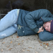 Homeless Man - Asleep By Dumpster — Stock Photo