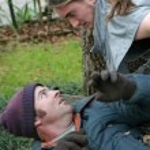 Homeless Man - Confrontation — Stock Photo
