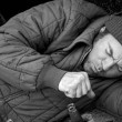 Homeless Man - Coughing — Stock Photo