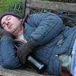 Homeless Man - On Park Bench — Stock Photo #6812883