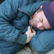 Homeless Man - Sleeping Closeup — Stock Photo