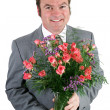 Businessman With Roses — Stock Photo