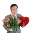 Valentine Guy - Hearts & Flowers — Stock Photo