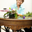 Disabled Woman Arranging Flowers — Stock Photo