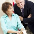Judge with Stenographer — Stock Photo