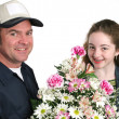 Stock Photo: Girl Receives Flowers