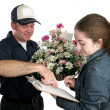 Girl Signing For Flowers — Stock Photo