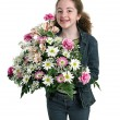 Stock Photo: Happy Girl With Flowers