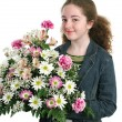 Pretty Girl With Flowers — Foto Stock