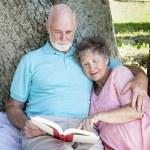 Beautiful Senior Couple Reading — Stock Photo