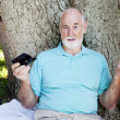 Senior Confused by Texting — Stock Photo #6817024