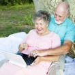 Senior Couple Computing Outdoors — Stock Photo