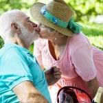 Senior Couple Kissing — Stock Photo