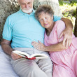 Senior Couple Reading Together Outdoors — Stock Photo #6817052