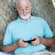 Senior Man Texting — Stock Photo