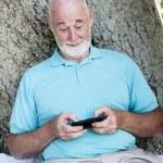Senior Man Texting — Stock Photo