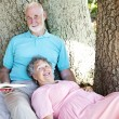 Seniors Reading Together - Stock Photo