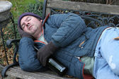 Homeless Man - On Park Bench — Stock Photo