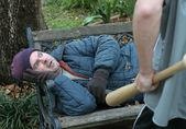 Homeless Man - Terrified — Stock Photo