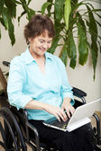 Disabled Woman with Laptop — Stock Photo