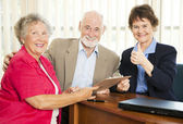 Senior Financial Advice - Thumbsup — Stock Photo