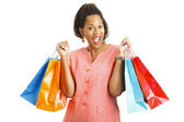 Happy Shopper with Bargains — Stock Photo
