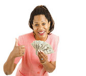 Woman Holds Cash - Thumbsup — Stock Photo