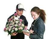 Teen Signs For Flowers — Stock Photo