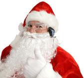 Santa Headphones Thumbsup — Stock Photo