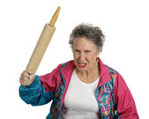 Angry Senior Lady with Rolling Pin — Stock Photo