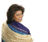 Indian Woman Colorful Shawl — Stock Photo