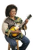Kvinna spelar mandolin — Stockfoto