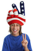 Patriotic Boy - Peace Sign — Stockfoto
