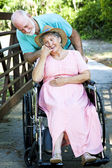 Caring for Disabled Wife — Stock Photo