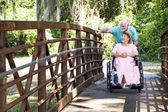 Disabled Senior Couple in Park — Stock Photo