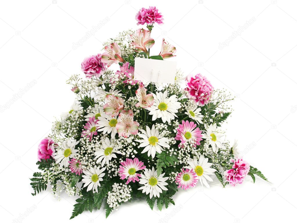 A beautiful arrangement of spring flowers with a blank card. — Stock Photo #6816415