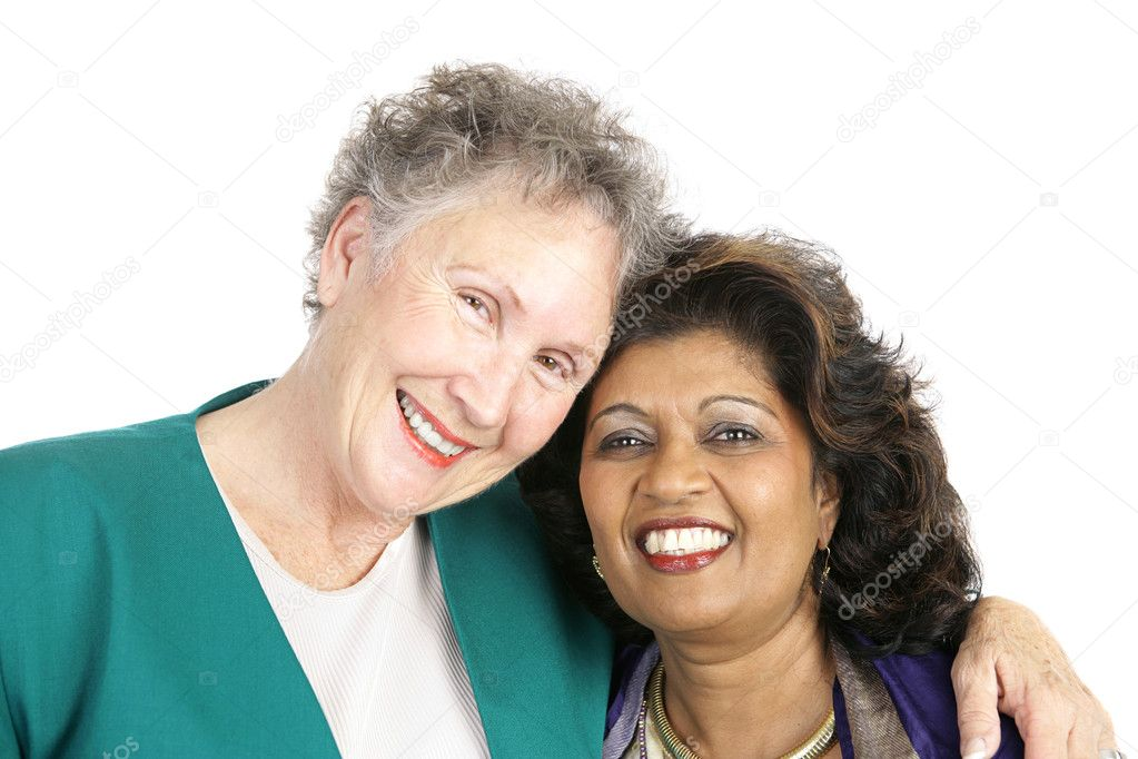Two women of different ethnicities who are best friends.  Isolated on white. — Stock Photo #6816694