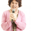 Frumpy Middle-Aged Singer — Stock Photo
