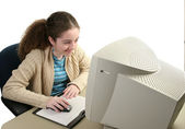 Girl Using Graphic Mouse — Stock Photo