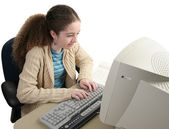 Researching Homework Online — Stock Photo