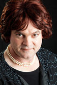 Drag-queen-porträt - ernst — Stockfoto