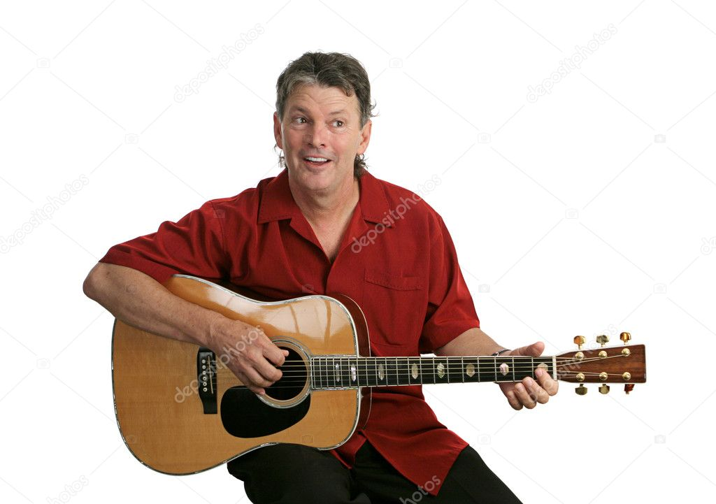 A handsome musician playing country music on his guitar.  Isolated. — Stock Photo #6831754