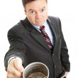 Businessman Begging for Change - Stock Photo