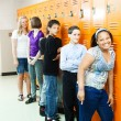 Diverse Students at Lockers — Stock Photo