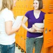 Teen Girls in School Hallway — Stock Photo #7295156