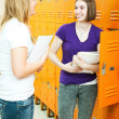 Teen Girls in School Hallway — Stock Photo