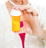 Senior Holding Prescription Pills — Stock Photo