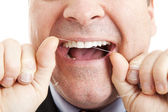 Flossing Teeth — Stock Photo